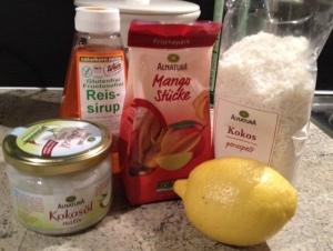 Zutaten für Kokos-Mango-Kugeln